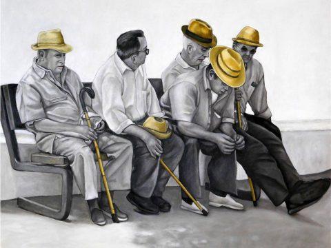 Noch warten wir, ebenso wie die Männer auf Uschi Brackers Bahnhofsbank, auf den befreienden Schachzug gegen das Virus